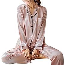 Pijama de seda de dos piezas para Las mujeres, Camisón de manga larga Tops +