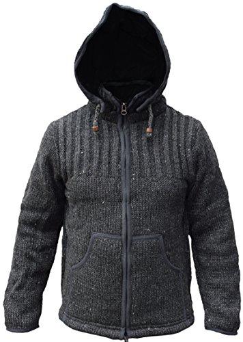 Little kathmandu giacca in lana da uomo, foderata in pile e con cappuccio removibile charcoal medium