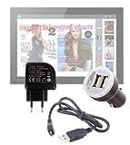 Pack / Kit de charge rapide et synchronisation micro USB DURAGADGET 3 en 1 pour tablettes tactiles Carrefour Touch Tablet CT 1010W 10' & CT1010 10,1 (Android)- câble USB, chargeur secteur et allume-cigare (2 amp) - Garantie 2 ans