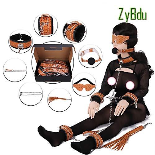 ZyBdu Handschellen Sex Strauß-Muster SM Bündelung Hand- Und Fußkette Leder Augenbinde Halsband Erwachsene Handschellen Sextoysets Für Paare