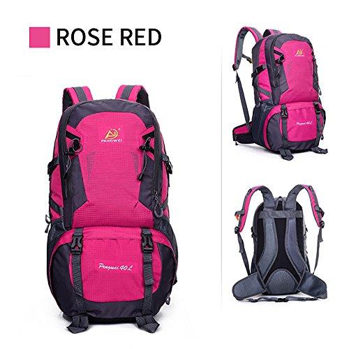 ohome Wandern Rucksack Leicht Reisen Klettern groß Tagesrucksack/Rucksack Wasserdicht Wandern Tasche für Damen und Herren Rose Red-40L