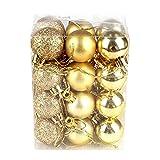 Cheerfulus 24 Stücke Weihnachtskugeln Gold glänzend glitzernd matt Christbaumschmuck bis Ø 3 cm Baumschmuck Weihnachten Deko Anhänger