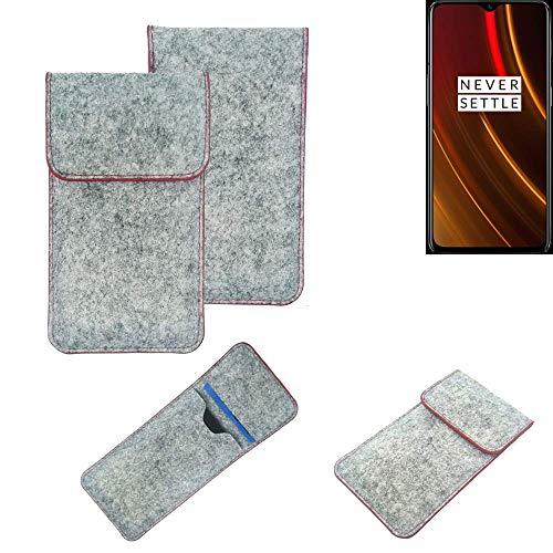K-S-Trade® Filz Schutz Hülle Für OnePlus 6T McLaren Edition Schutzhülle Filztasche Pouch Tasche Case Sleeve Handyhülle Filzhülle Hellgrau Roter Rand