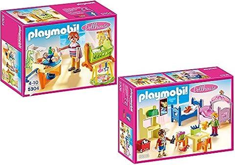 PLAYMOBIL® maison de poupées set en 2 parties 5304 5306 chambre pour bébé avec berceau + chambre