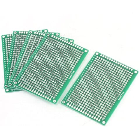 5 Tableros de PCB de Cobre Verde de Doble Cara para Prototipos - 5 x 7 cm