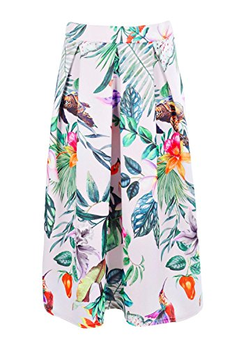 Damen Multi Rebekah Skaterrock Mit Tropischem Blumen-print Und Kellerfalten Multi