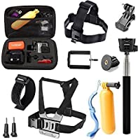 Rhodesy 10 in 1 GoPro Accessories Kit for Gopro Hero 7 Hero 2018 Hero 6 Hero5 Session Hero 5 4 3+ 3 2 and HD Hero Original Cameras: Head Strap Mount +Chest Harness Belt Mount +Floating Grip +Extendable Handheld Monopod +Medium ShockProof Carry Case