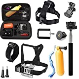 Rhodesy 10 in 1 Gopro Accessori Kit per Gopro HERO 2018 Hero 5 Session Hero 4 Session Hero Session Hero 6 Hero 5 4 3 3+ 2 & Gopro Hero Originale Videocamera : Fascetta per la Testa + Fascia Toracica + Grip di Galleggiamento + Monopiede Estensibile + Custodia Antiurto Medie