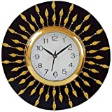 Crafts World Wood Wall-Clock For Bedroom, Living Room Wall Peacock Design,12X 12 Inch, (cw11105, Multicolour)