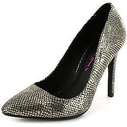 Neu Damen/Damen Dolcis Gold Cindy, Stiletto Absatz Spitze Schuhe Gold - UK GRÖßEN 3-8 - Gold, Synthetik, Damen, 40, Gold
