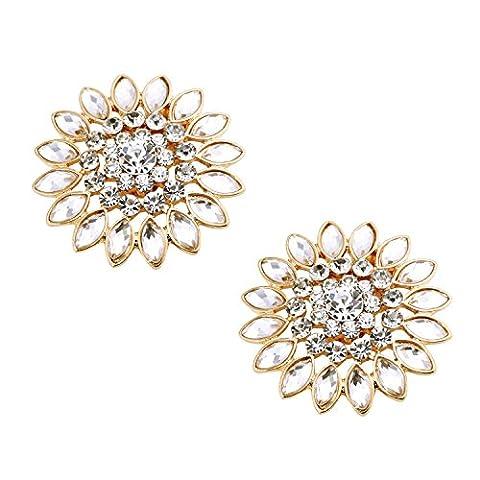ElegantPark BJ 2 Pcs Clips pour Chaussures Tournesols Design Rhinestones Décoration de Mariage Sunflower Gold