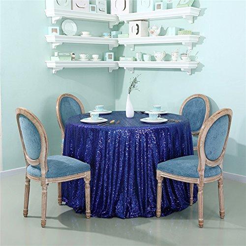 Zdada Glitzernden Pailletten Tischdecke (183Rund Königsblau) Glitzer Pailletten Tisch Cover Bettwäsche für Elegante Hochzeit Party Event Banquet Dekoration