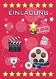 12 Einladungskarten zum Kindergeburtstag Kino Party pink / Cinema Party / schöne und bunte Einladungen