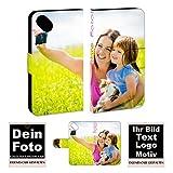 Wiko Handyhülle Personalisierte Handy Tasche mit Foto Bild Text Druck zum selbst gestalten (Wiko Sunset 2, Mit eigenes Foto Text Druck)