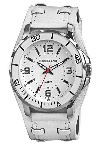 Foto de Moderno, Exclusive–Reloj de cuarzo con amplio campo de la carcasa, Reloj de pulsera Blanco de plata