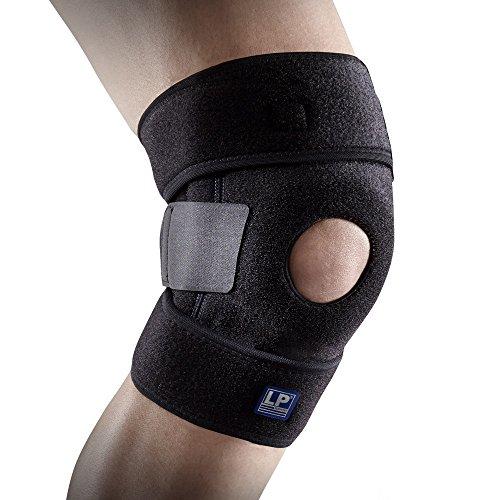 LP Support 733-KM atmungsaktive Kniebandage - offene Wickel-Knie-Bandage verstellbar - für Sport & Alltag, Größe:XL, Farbe:1 x schwarz