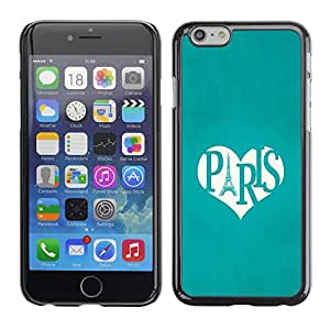 Omega Covers - Snap on Hard Back Case Cover Shell FOR Iphone 6/6S (4.7 INCH) - Eifel Tower Love Teal Heart