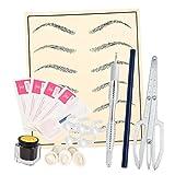Sharplace Set di Microblading Penna Permanente Trucco Makeup Spracciglio Tatuaggio Ago Inchiostro Pratica Kit Pelle per Uso Singolo Professionale