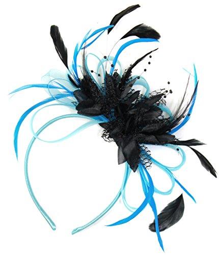 aqua-cornflower-blue-and-black-net-hoop-feather-hair-fascinator-headband-wedding-royal-ascot-races