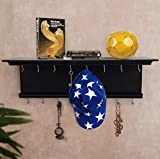 #9: Tied Ribbons Wall Mounted Wooden Key Hanger Key Organizer cum Wall Shelf for living room wall decor home office