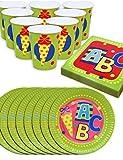 HomeTools.eu - Schulanfang Party Geschirr Set ABC | Papp-Teller, Papp-Becher, Servietten für Schul-Eingang Feier | 8 Personen | 36-Teilig