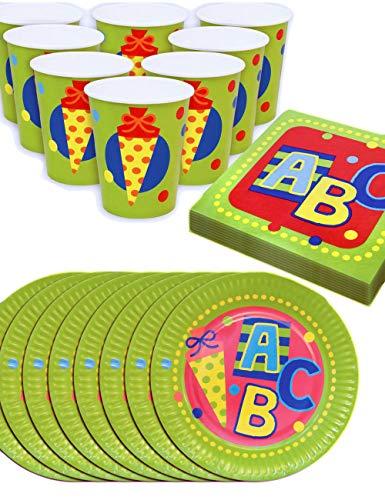 HomeTools.eu® - Schulanfang Party-Geschirr Set ABC, Papp-Teller, Papp-Becher, Servietten für Schul-Eingang Einschulung Feier, 8 Personen, 36-Teilig