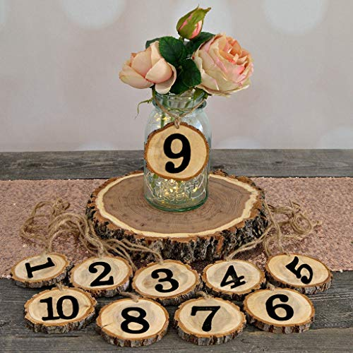 Rustikale hölzerne Hochzeit Original Baum Stück,1-10 digitale Tischnummer hängende Ornament Dekoration,für Diy Hochzeit Graduierung Geburtstag Bankett Dinner Parties,hochzeitsdekoration tisch (Gelb) -