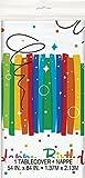 Unique Party 49563 - Tovaglia Plastica per Feste di Compleanno - Tema di Nastri Arcobaleno, 213 cm x 137 cm
