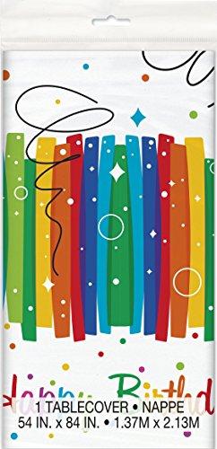Unique Party - 49563 - Nappe en Plastique Anniversaire Nœuds Arc-en-Ciel - 213 cm x 137 cm