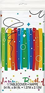 Mantel de Plástico - 2,13 m x 1,37 m - Fiesta de Cumpleaños de Franja Arcoíris