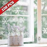 Lamantt Schneeflocken Fensterbilder, 108 Schneeflocken Aufkleber Weihnachtsdeko für Fenster, Statisch Haftende PVC Fensteraufkleber Weihnachten für Türen,Schaufenster, Vitrinen, Glasfronten und mehr