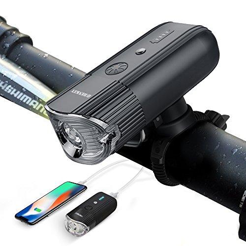 Luz Bicicleta USB Recargable Bicicleta Luz + Power Bank (4000 MAh/1000 LúMenes), Super Brillante Resistente Al Agua Ip65 Para Faros Delanteros Para Bicicleta/Linterna