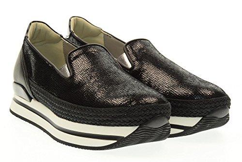 HOGAN scarpe donna slip on HXW2220X350FQQB999 H222 PANTOFOLA Nero