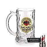 Bacardi Rum Oakheart Fledermaus Krug Glas / Gläser, Markenglas, Longdrinkglas + Flaschenausgiesser