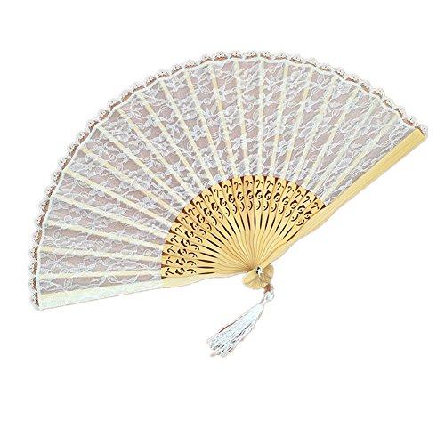 Spitze Weiße Kostüm Fan - 1X Toruiwa Bambus Handfächer Fächer Spitze Faltbare Fan für DIY Hochzeit Geschenk Tanzabend Party Kostüm Maske Karnevals 23*40cm (Weiß)