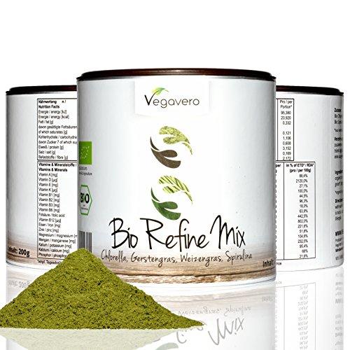 Superfood Refine Mix Vegavero | con spirulina chlorella, erba di grano e matcha | 200g in pratica confezione salva-aroma | Vegan | ingredienti biologici controllati