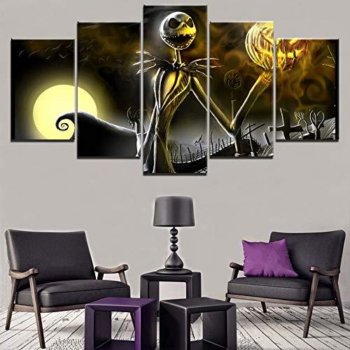 jqnxww Leinwanddruck Malerei 5 Stücke Friedhof Halloween Urlaub Jack Skellington Skeleton Bild Moderne Wohnkultur Wandkunst Poster