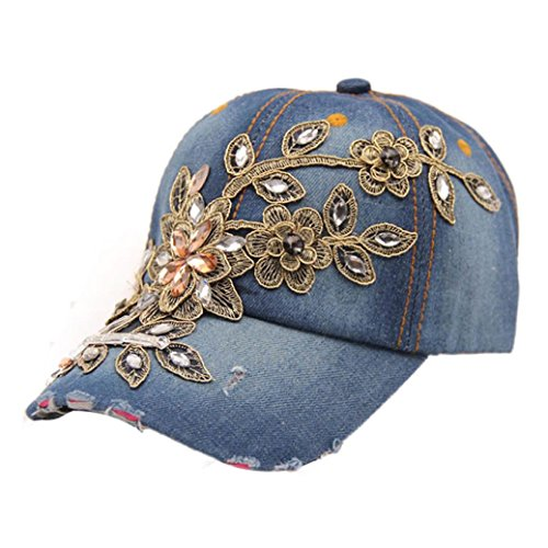 Frauen Denim Hut DDLBiz® Frauen Diamant-Blumen-Baseball-Mütze Summer Style Lady Jeans Mützen (D) (Jeans Diamant-damen)