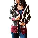 TUDUZ Damen Strickjacke Feinstrick Kimono Cardigan Strickcardigan mit Offenem V-Ausschnitt Outwear Mantel mit Knopf
