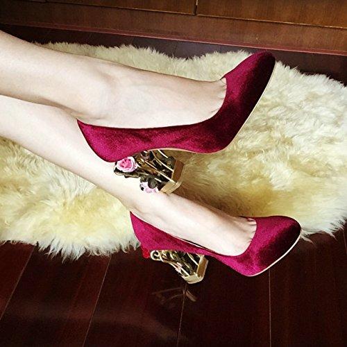 Fleur avec magnifique cage talons bijou velours chaussures cuir chaussures chaussures de mariage wine red