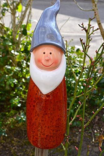 Zaunhocker Zwerg-lustiger Zaungucker Gartenzwerg -Gartenzaungucker -aus Polystein und Metall- für Haus und Garten,