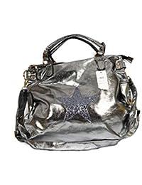Damen Tasche Kunstleder metalloptik silber XXL Shopper Stern 51018-3 Black/Plata