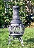 Nuevo chimenea de hierro fundido 89 cm gris piedra chimenea ideal para terrazas y zonas de patio.