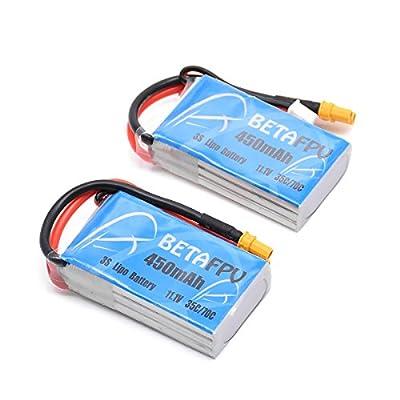 BETAFPV 2pcs 450mAh 3S Lipo Battery 11.1V 35C XT30 Plug for Micro FPV Racing Drone Quadcopte by BETAFPV