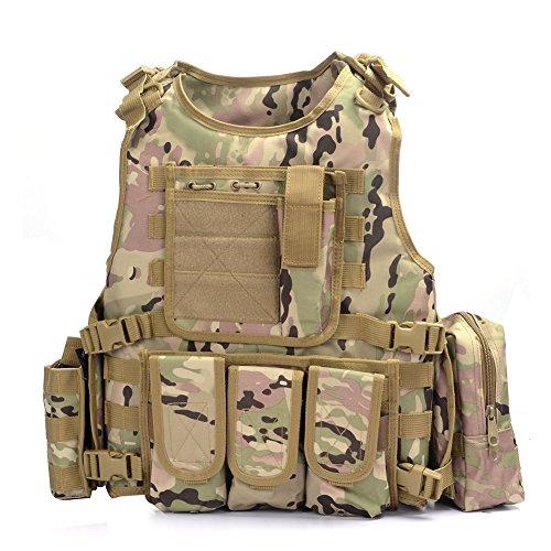 YAKEDA® Army-Fans Tactical Vest Cs Feld Swat Tactical Vest Army-Fans im Freien Weste Cs Spiel Vest Cosplay von Counter Strike Spiel Vest-322 (CP-Tarnung) Airsoft Pistole Holster Weste