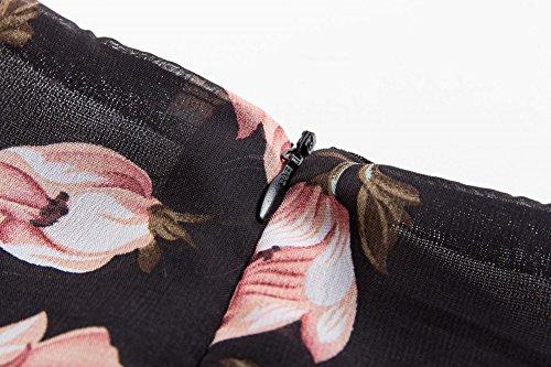 Femmes Swing Robe de Soirée/Bal Cocktail Imprimée Rockabilly Robes Café Fleur