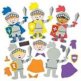 """Mix & Match-Deko-Magnete """"Ritter"""" für Kinder zum Basteln und Dekorieren – Kreatives Bastelset für Kinder (6 Stück)"""