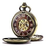 TREEWETO - Reloj mecánico de Bolsillo para Hombre y Mujer, Esqueleto de Bronce, con números Romanos