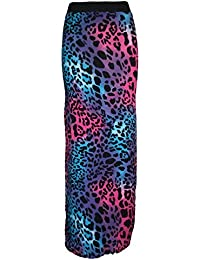 Home of Fashion Neon Pink and Blue Leopard Print Maxi Skirt