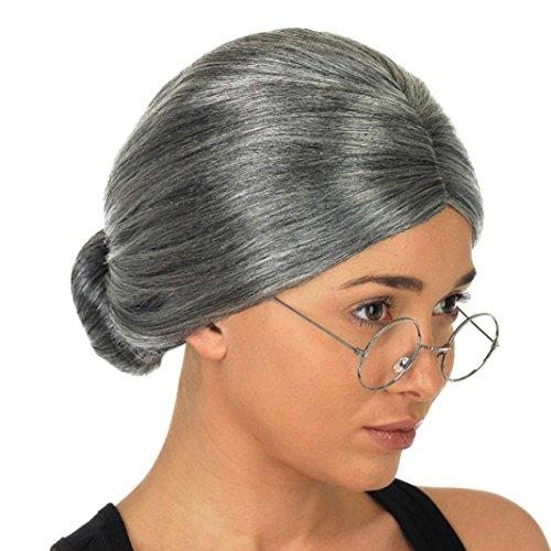 Perücke❤️❤️alte Dame Oma Oma graue Perücke Bun Hair Grand Mutter Kostüm Halloween Party Club Cosplay Kopfbedeckung Perücke (Grau)